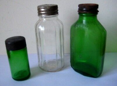 3 Vintage  BOTTLES   Squibb, Pharmacy, & Celery Salt - Collectibles