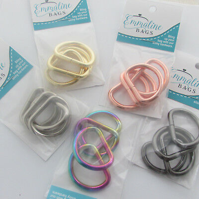 """Emmaline Bags D rings 1 """" / 25mm - range of finishes - for bags & crafts"""