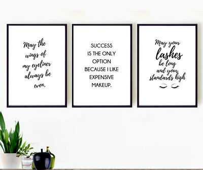 Set of 3 make up quote prints  - dressing room wall art set - beauty salon - No2