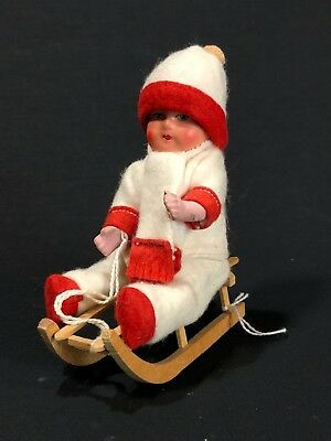 1945 Vintage German Candy Container, Girl On Sled, Christmas Decoration Holiday