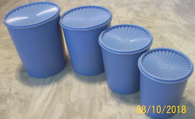 Vintage Tupperware Servalier Country Blue Nesting Canister Set Of 4 W/ Lids