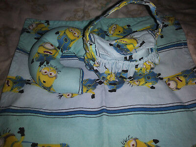 "Mini Miniature silicone baby Ooak reborn doll Barbie Diaper bag set "" minions """
