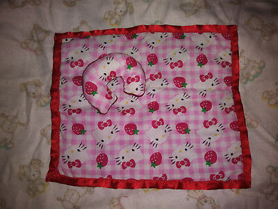 "Mini Miniature silicone baby Ooak reborn doll Barbie Blanket set "" Hello Kitty """