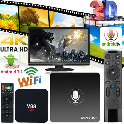 Voice Control Android 7.1 4K 1080P WiFi Smart Set-Top TV Box Media Player 8/16GB