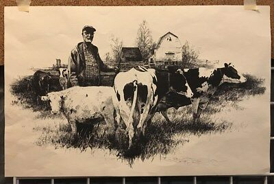 "Vintage engraving Tom Major old farmer with cattle print signed 1979 14"" x 22"""