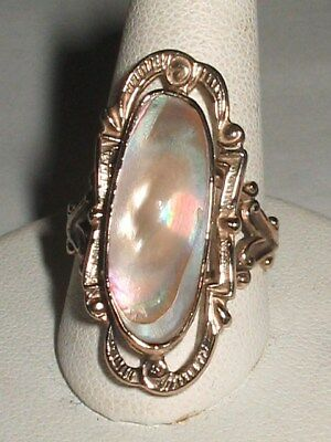 Art Deco Gold Plate Sterling Silver Abalone Blister Pearl Ring  S7 FREE SIZING!