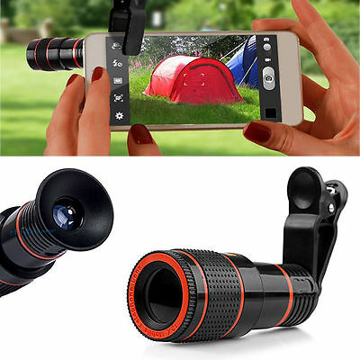 Universal 12X Zoom Telephoto Telescope Lens Phone Camera Clip For iPhone 8 7 6S