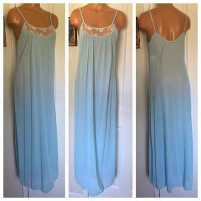 Vtg Danskin Blue W/ Lace Yoke Nylon Long Nightgown Sz M