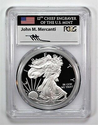 2018 W $1 Proof Silver Eagle PCGS PR70 DCAM First Day of Issue Mercanti 1 of 800