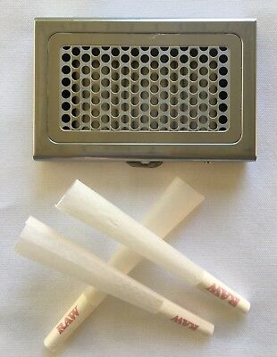 raw shredder/grinder case + RAW Organic 1 1/4 size cones with Filter(100 cones)