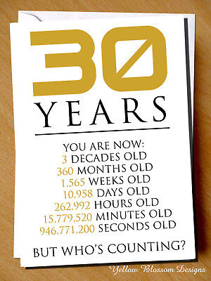Happy 30th Birthday Funny Greetings Card Friend Sister Brother 30 Years Old Joke