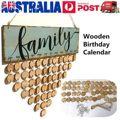 FAMILY Birthday Board Hanging Plaque Wooden Calendar Reminder Home Wall Decor AU