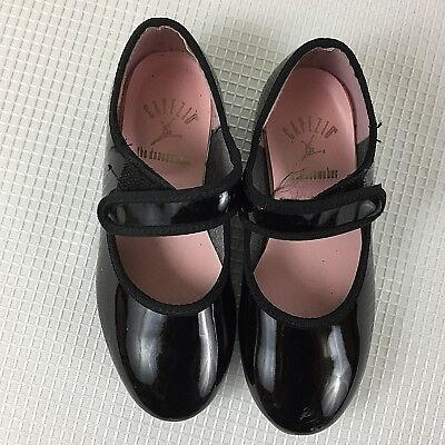 "CAPEZIO Girls Tap Shoes Size 8 M Black Patent ""leather look"" Hook & Loop closure"