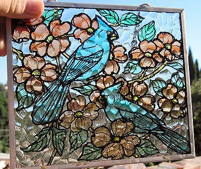 1990s Faux Stained Glass Suncatcher Multi-Colored 2 Blue Jay (?) Birds # 4