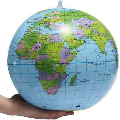Inflatable Globe 30cm Atlas World Map Earth Beach Ball Geography Blow Up Toy