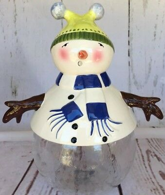 Glass Treat Cookie Jar 9.25-inch Snowman Christmas JC Penney Home Collection