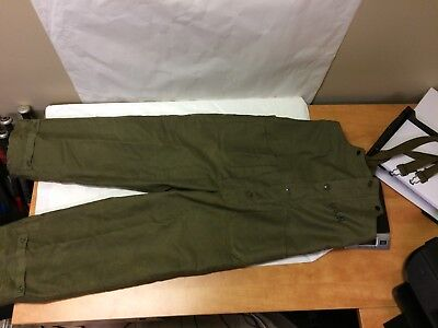 Vtg WWII USN US Navy Deck Pants Bibs Overalls Size M Wool Lined Cold Weather GUC