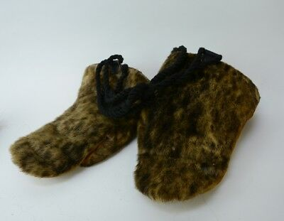 Vintage Alaskan Inuit Mittens - Hide and fur - Cloth Lined - Mid 20th Century