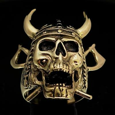 Bronze Mens Costume Ring Viking Skull Warrior Crossed Axes And Helmet Any Size