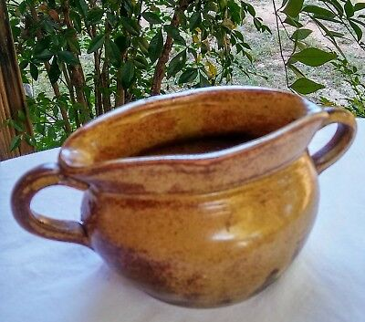 Vintage Hand Made Light Brown Clay Pottery Bowl Pot Two Handles