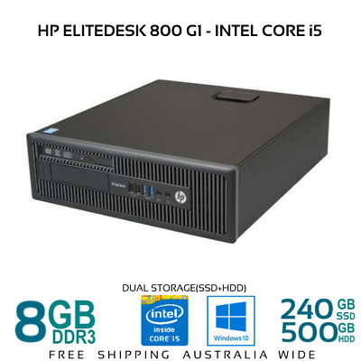 HP EliteDesk 800 G1 SFF QUAD Core i5 4570 8/16G 1TB HDD/240G SSD W10 Desktop PC