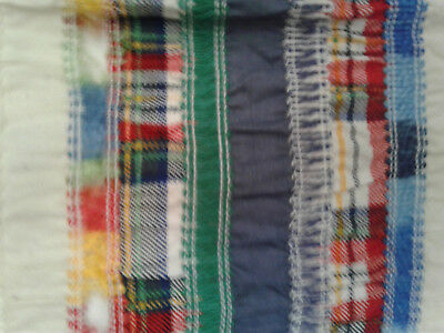 1 YD OOAK vintage cheater fabric - puckered stripes of NOVELTY plaid/trims