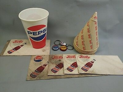 Vintage Pepsi Cola  Double Dot   Wax Paper Cones And 1 Cup Key Chain  Bottle