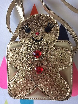 Brand New Seed Heritage Gingerbread Man Christmas Bag Gold Glitter So Cute!!!