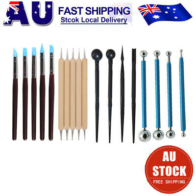 18Pcs Clay Sculpting Pottery Carving Tool Set Shaper Modelling Sculpture Kit AU