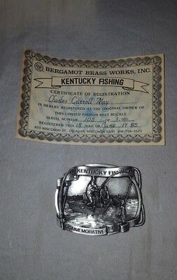 Vintage 1985 Kentucky Fishing Brass Belt Buckle Bergamot Brass Belt Buckle