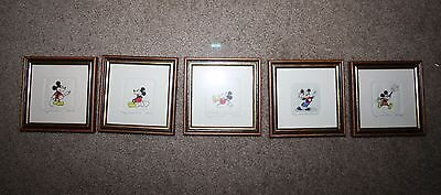 "Five Original  Mickey Mouse  Etchings Limited edition/numbered 4""X4"""