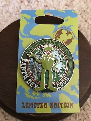 Disney Earth Day 2009 Pin Reduce Reuse Recycle Kermit Frog Muppets Ltd Ed New