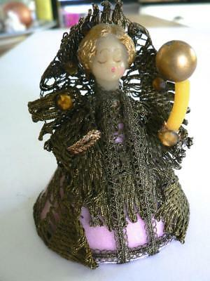 Vintage Early Ami Koestel Wax Angel With Candle Gold Lace Rhinestones Christmas