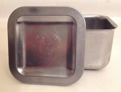 Antique Vintage Revere Ware Stainless Steel Cooking Baking Container W Lid -Rare