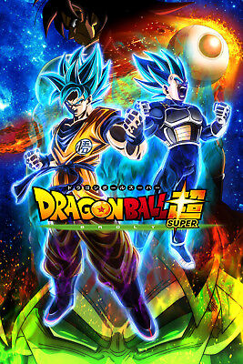 Dragon Ball Super Poster Goku Vegeta Blue Broly Movie 12inx18in Free Shipping