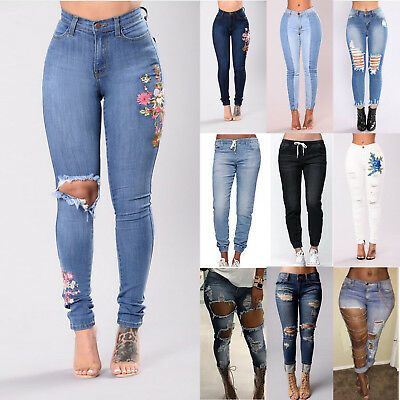 Women's Denim Pants Ripped Slim Skinny High Waist Jeans Long Trousers Jeggings