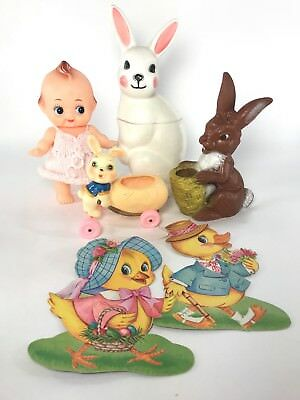 Vintage Easter Antique Bitter Squeaker Blow Mold Bunny Kewpie Doll Toy Lot