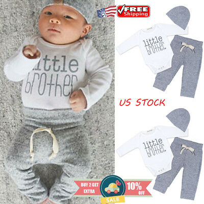 Newborn Baby Boys LITTLE BROTHER Long Sleeve Romper Pants Outfits Clothes Set
