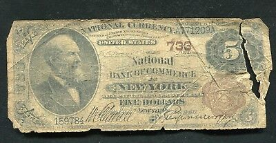 1882 $5 Bb National Bank Of Commerce New York, Ny National Currency Ch. #733