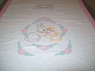 Vintage Embroidered Baby Bedspread/Wall Hanging/Coverlet Pink Trim(A-2)