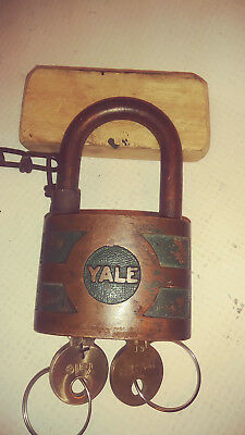antique/vintage yale bicentric padlock 937B both nice working yale keys  A