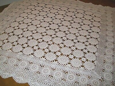 "Vintage Cream Colored Crocheted Tablecloth-37"" X 38"" (A-2)"