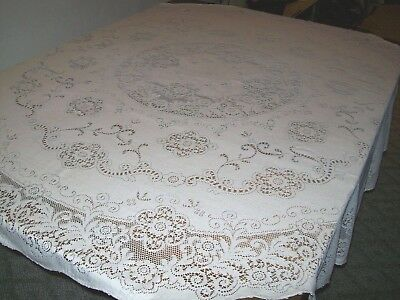 Vintage Off White Cotton Lace Round Tablecloth-(A-2)