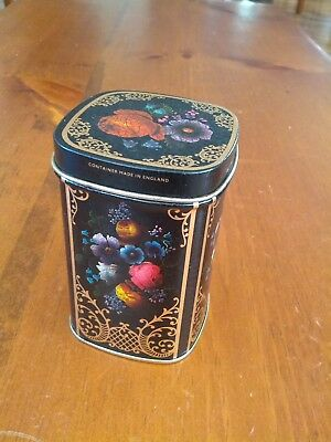 """Vintage Tin Black With Gold Scrolling Design Colorful Flowers 3.75"""" Tall"""
