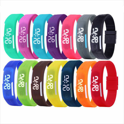 Men Women LED Waterproof Watches Sport Digital Silicone Bracelet Wrist Watch Hot
