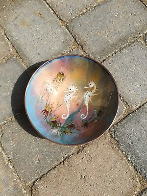Sagitta Holland Enamel Hand Painted Over Copper Bowl With Sea Horses