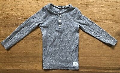 Country Road Baby Cotton Elastane Grey Rib Long Sleeve Top Size 1