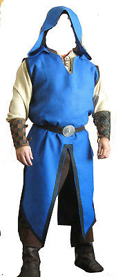 Medieval Tunic Blue With Cape Renaissance Viking Men Cosplay Top Costume ds