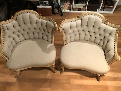 Pair of Antique Tufted French Courting Side Chairs