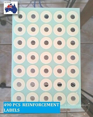 490 Pcs Self Adhesive Hang Tag Ring Round Reinforcement Label White 14.5mm